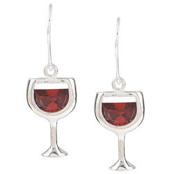 Silvermoon Sterling Silver Red Cubic Zirconia Wine Glass Earrings