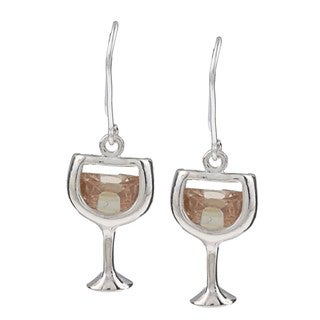 Silvermoon Sterling Silver Cubic Zirconia White Wine Earrings