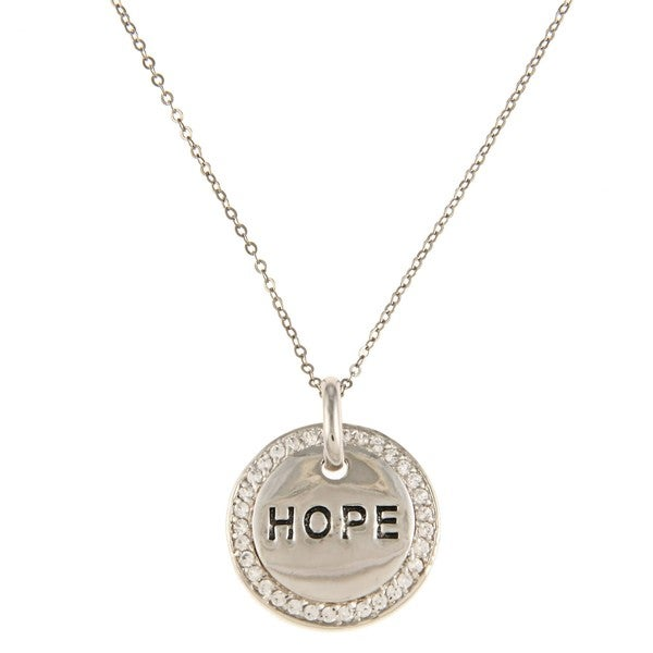 La Preciosa Silvertone Cubic Zirconia 'Hope' Circle Necklace