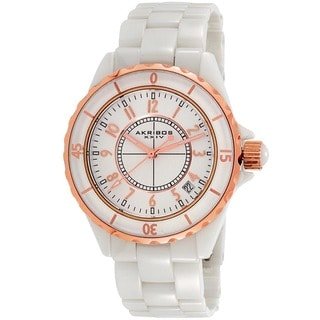 White Akribos XXIV Ladies Ceramic Quartz Date Bracelet Fashion Watch