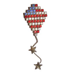 Detti Originals Brass Red, White and Blue Crystal Kite Pin