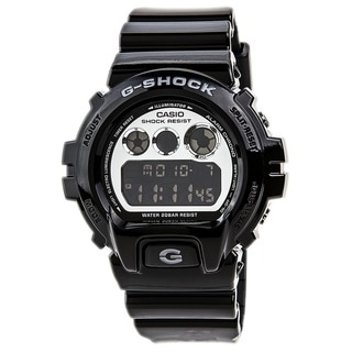 Casio Men's 'G Shock' Quartz Silver Dial Black Band Digital Watch