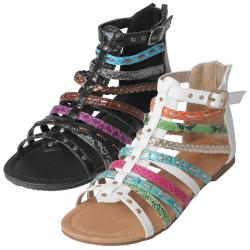 Journee Collection Girl's 'Elrio-2s' Reptile Print Gladiator Sandals