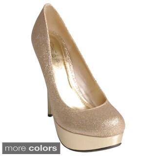 Journee Collection Women's 'LOA-27' Glitter Platform Heels