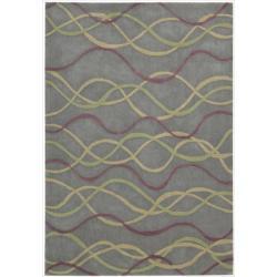 Nourison Hand-tufted Metropolitan Grey Floral Rug (3'6 x 5'6)