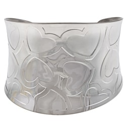 Mondevio Stainless Steel Raised-Heart Cuff Bracelet