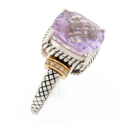 Meredith Leigh 14k Gold and Silver Pink Amethyst and Diamond Ring