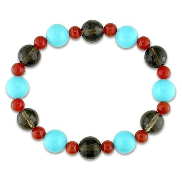 Miadora Smokey Quart Carnelian and Glass Bead Stretch Bracelet 8187008