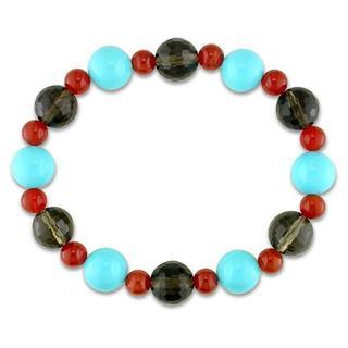M by Miadora Smokey Quart, Carnelian and Glass Bead Stretch Bracelet