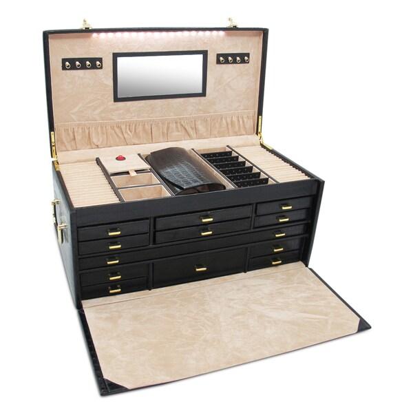 Morelle & Co 'Elizabeth' Large Leather Illuminated Jewelry Box