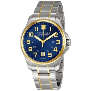 Swiss Army Men's 'Officer's' Blue and Goldtone Watch