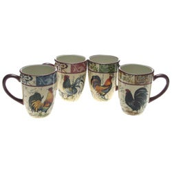Certified International Lille Rooster 20-oz Mugs (Set of 4)