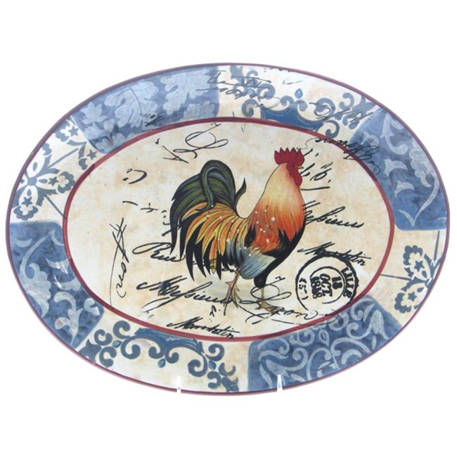 Certified International Lille Rooster 16x12-inch Oval Platter