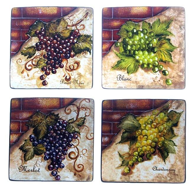 Certified International Wine Cellar 8.75-in Square Salad/ Dessert Plates (Set of 4)