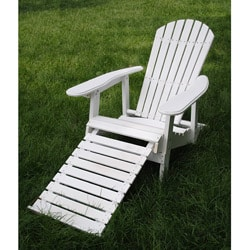 White Folding Adirondack Pull-out Footrest Chair