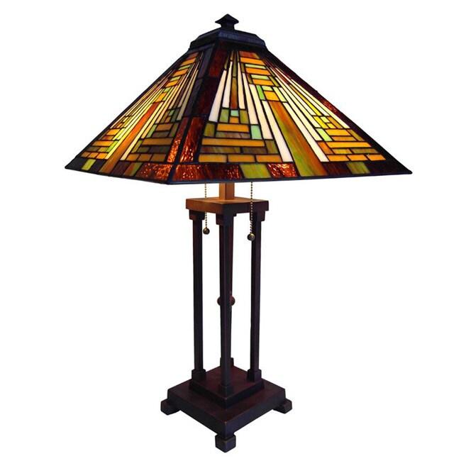 Chloe Tiffany Style Mission Design 2-light Antique Bronze Table Lamp
