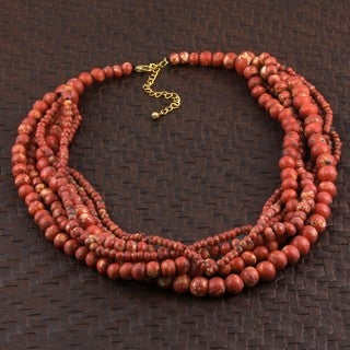 Wood 'The Coral Look' Multi-strand Beaded Necklace (India)