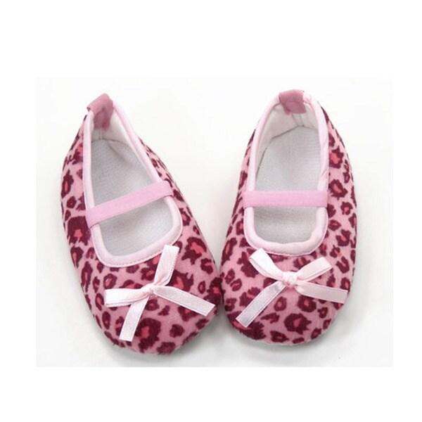 pink leopard print infant crib shoes 13730175