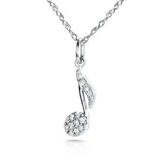 Annello 14k Gold 1/10ct TDW Diamond Musical Note Necklace (H-I, I1-I2)