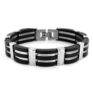 Crucible Men's Polished Stainless Steel and Black Rubber Link Bracelet