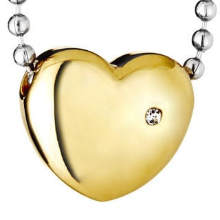 ELYA Stainless Steel Goldtone Cubic Zirconia Domed Heart Necklace