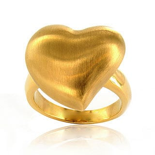 West Coast Jewelry Stainless Steel Goldtone Brushed Heart Ring