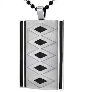 Stainless Steel Black Diamond Pattern Necklace