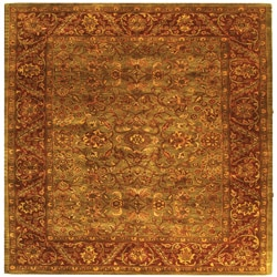 Safavieh Handmade Golden Jaipur Green/ Rust Wool Rug (6' Square)