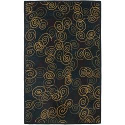 Safavieh Handmade Swirls Navy Wool Rug (7'6 x 9'6)