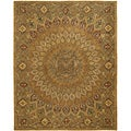 Handmade Heritage Medallion Light Brown/ Grey Wool Rug (4' x 6')