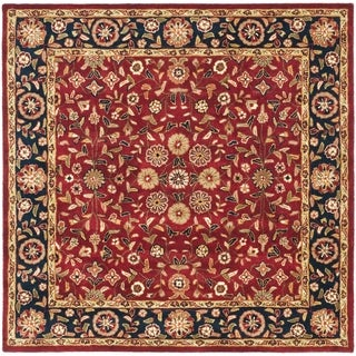 Safavieh Handmade Heritage Birj Red/ Navy Wool Rug (6' Square)