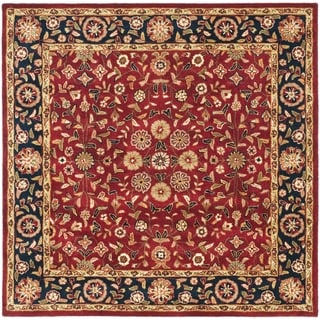 Handmade Heritage Birj Red/ Navy Wool Rug (6' Square)