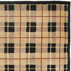 Contemporary Hand-Knotted Lexington Plaid Beige Wool Rug (5' x 8')