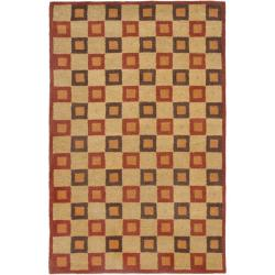 Handmade New Zealand Checkers Beige/ Rust Rug (7'6 x 9'6)