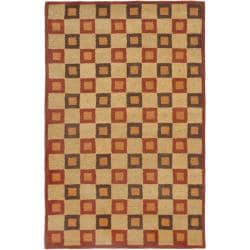 Handmade New Zealand Checkers Beige/ Rust Rug (8'3 x 11')