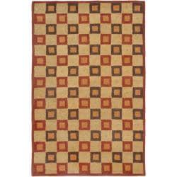 Handmade New Zealand Checkers Beige/ Rust Rug (8'3 x 11')