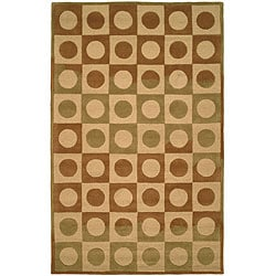 Handmade Checker Board Beige Wool Rug (8'3 x 11')