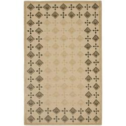 Handmade Diamonds Beige Wool Rug (3'6 x 5'6')