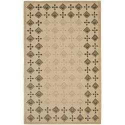 Handmade New Zealand Wool Diamonds Beige Rug (8'3 x 11')