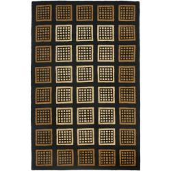 Safavieh Handmade Blocks Black Wool Rug (7'6 x 9'6)