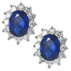 Journee Collection Silvertone Oval-cut Blue and White CZ Stud Earrings