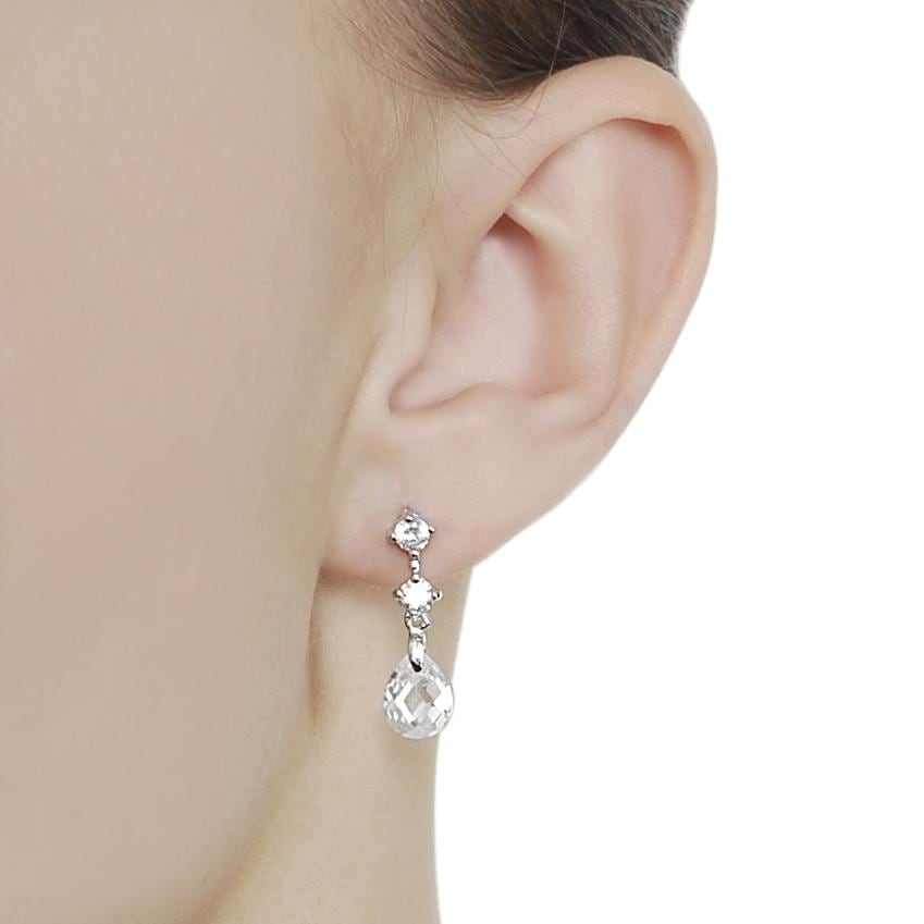 Journee Collection Silvertone Pear-cut CZ Dangle Earrings