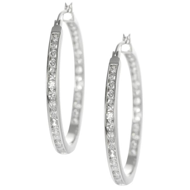 Silvertone Channel-set Cubic Zirconia Hoop Earrings