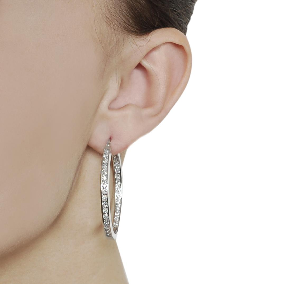 Silvertone Channel-set Cubic Zirconia Hoop Earrings