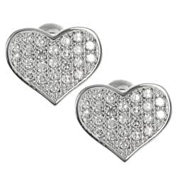 Journee Collection Silvertone Pave-set CZ Heart Stud Earrings