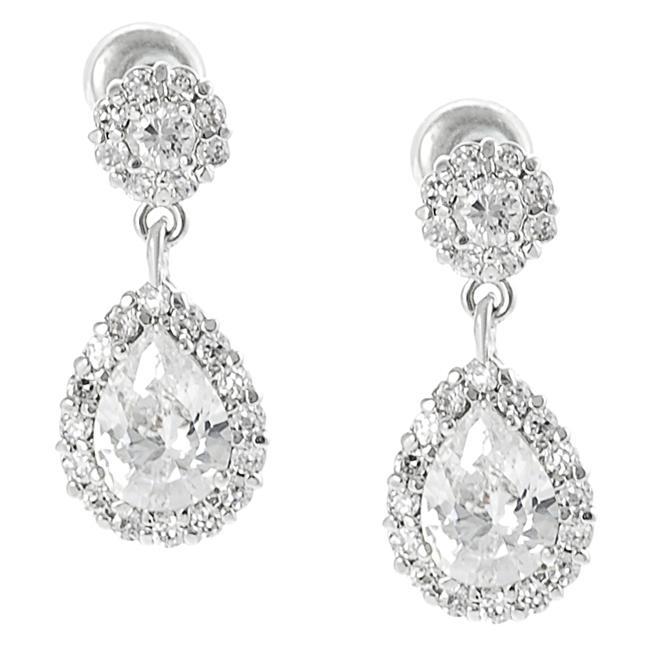 Silvertone Pear-cut Cubic Zirconia Dangle Earrings