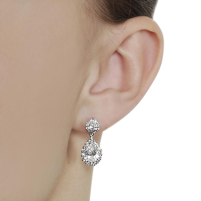 Silvertone Pear-cut Cubic Zirconia Dangle Earrings