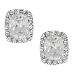 Silvertone Pave-set and Cushion-cut Cubic Zirconia Stud Earrings