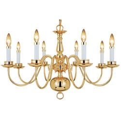 Woodbridge Lighting Williamsburg 8-light Polished Bronze Chandelier