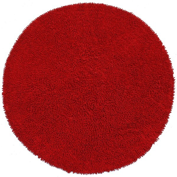 Hand-woven Shagadelic Red Chenille Round Rug (5' x 5')